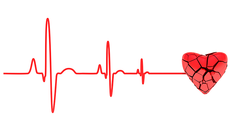 illustration of heartbeats ending in a cracked and broken heart
